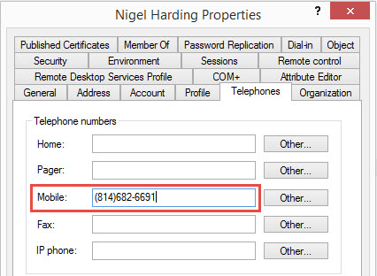 Active Directory Phone Lookup Property