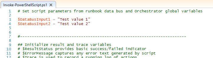 Orchestrator script development in ISE using mock test input values
