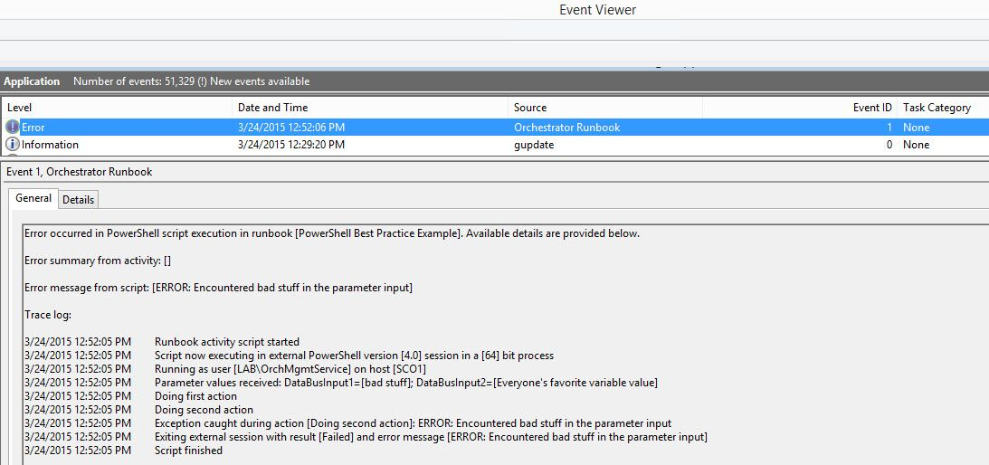 Recording detailed script error logs to Windows Event Log