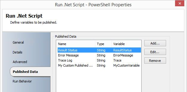 Defining published data for PowerShell within Run .Net Script activity