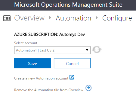 Configure the Automation pack to use the correct Automation Account