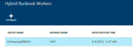 If successful, registered worker appears in Automation Account under Hybrid Workers