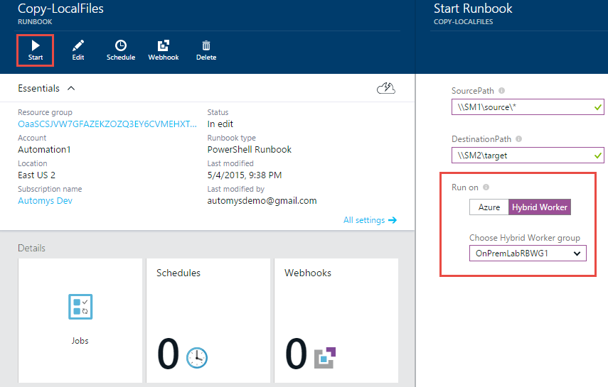 Start the runbook from Azure portal, selecting the Hybrid Worker option