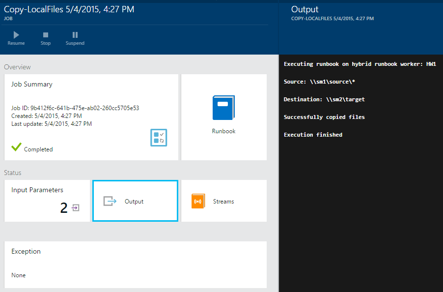 Viewing runbook status and output in the Azure portal