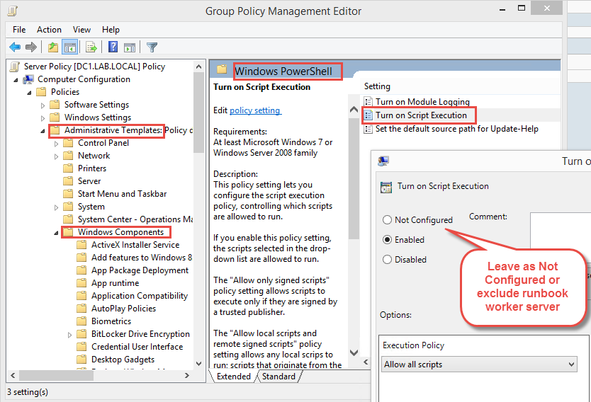 Avoid this setting or exclude your hybrid runbook worker server from application