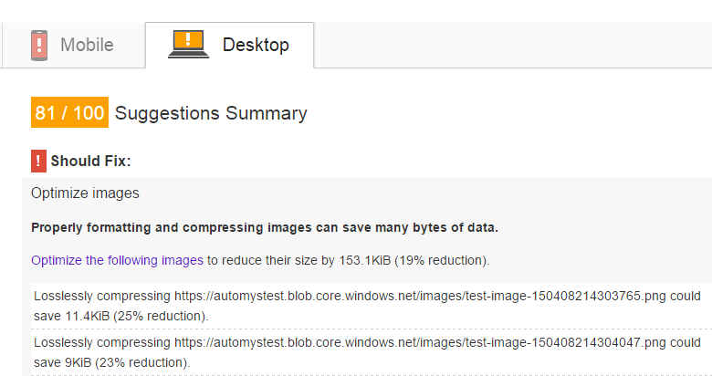 Before: PageSpeed is sad about image sizes