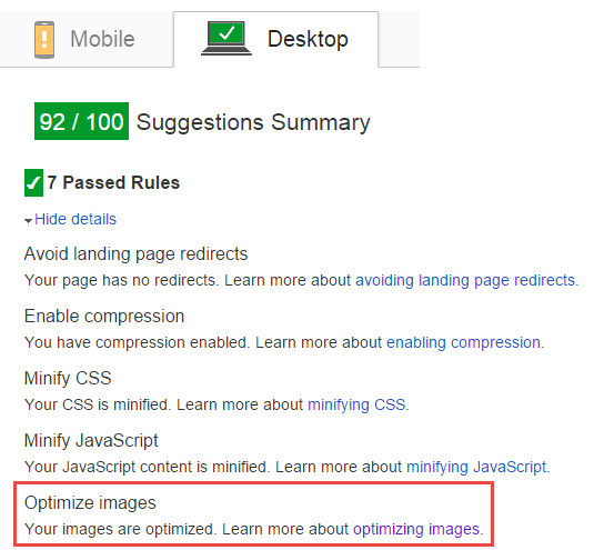 After: PageSpeed is happy about image sizes