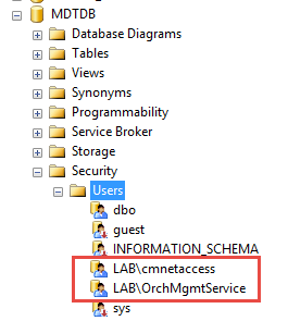 Granting access to MDT database for task sequence client and Orchestrator