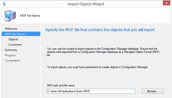 Importing query MOF file into Configuration Manager