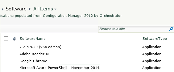 List of applications in SharePoint populated from Configuration Manager 2012
