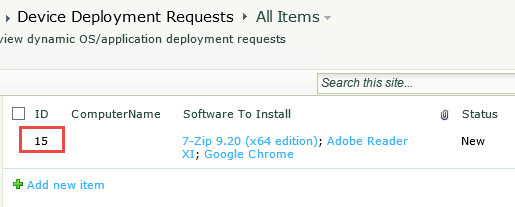 SharePoint deployment request