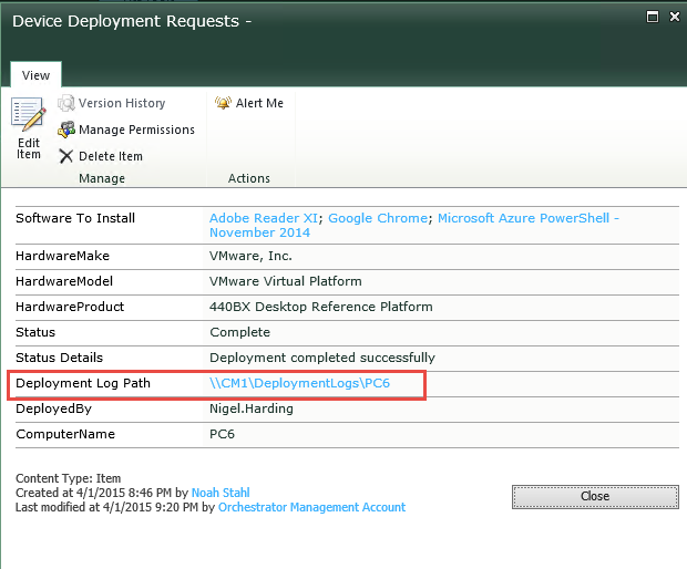 Deployment results populated into the original request, including SLShare path to logs