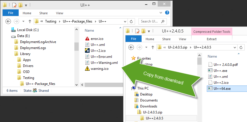 Copy the latest UI++ executable into the package source folder