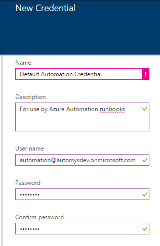 Create new Azure Automation credential asset