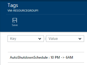 Example shutdown schedule tag