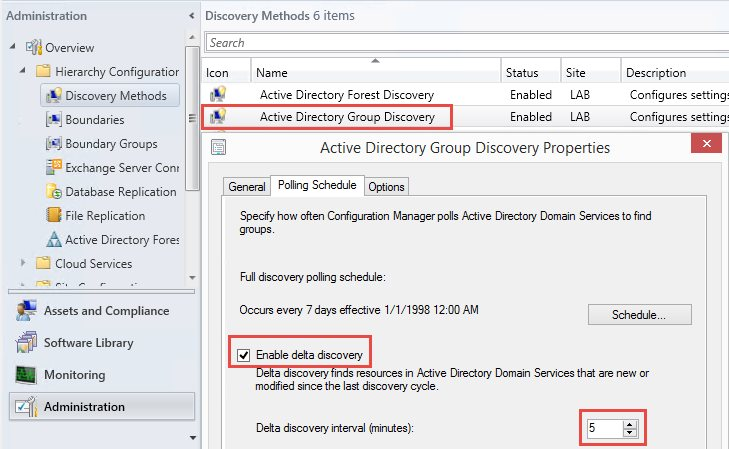 Configuration Manager automatically discovers group membership updates