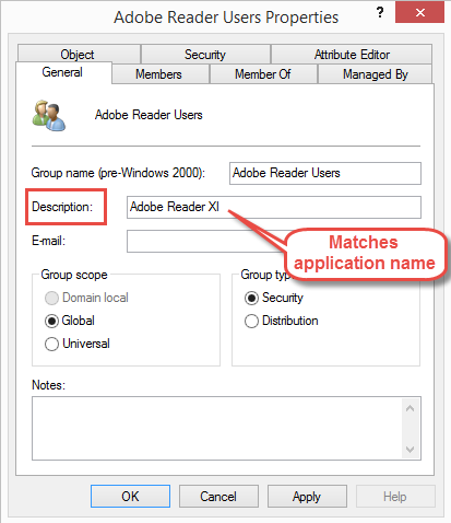 Active Directory group description matches ConfigMgr application name