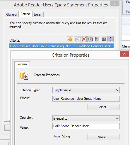 Configure collection membership rule to use group membership