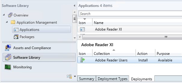 Configuration Manager application deployed to corresponding user collection