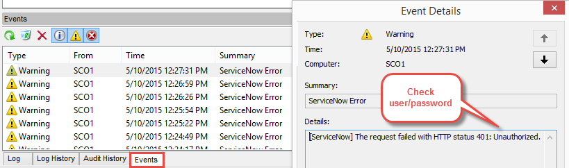 Event is logged when ServiceNow connection fails from Orchestrator