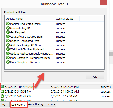 Succesful Orchestrator runbook execution