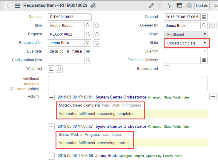 Orchestrator has added execution details to request records