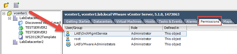 Grant Orchestrator access to vCenter