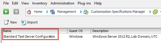 VMware OS customization spec to use in deployment runbook