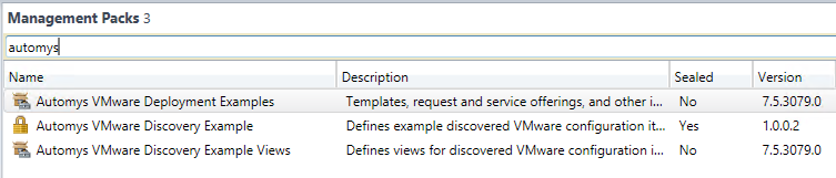 Imported example Service Manager management packs