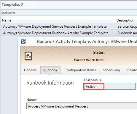 server runbook template - self service vmware deployment system center service