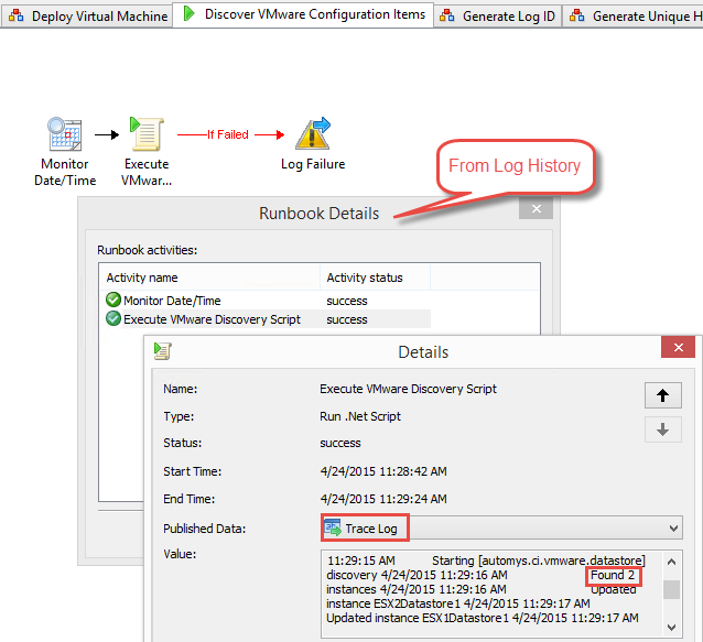 VMware discovery runbook reports progress in Trace Log