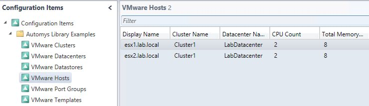 VMware configuration items populated by discovery runbook