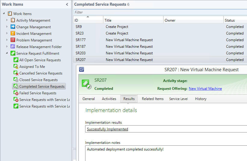 Self-Service VMware Deployment - System Center Service