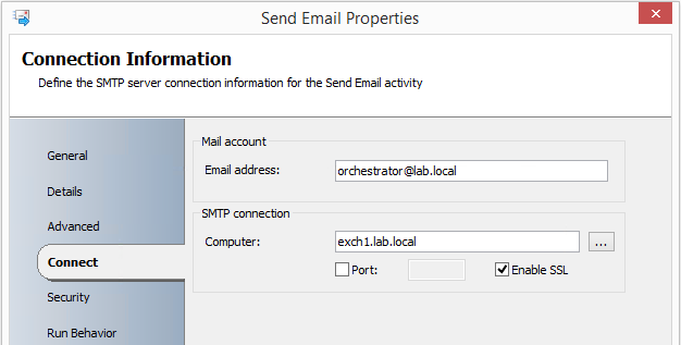 Send Email activity connection details example