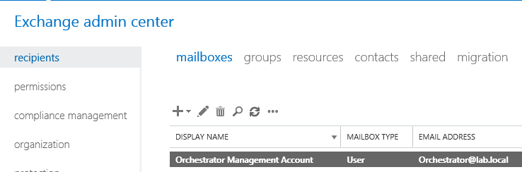 Exchange mailbox for Orchestrator runbook service