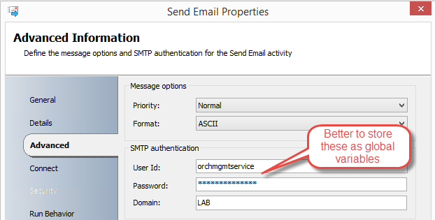 Authenticated send email configuration