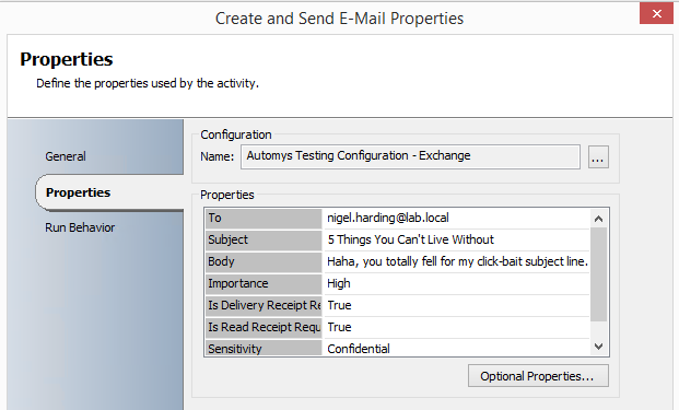 Sending email using Exchange User integration pack