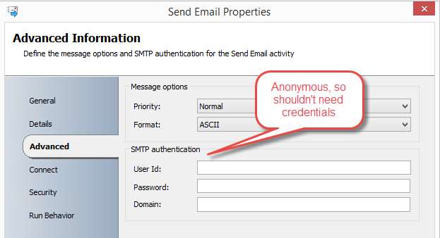 Anonymous configuration for Send Email activity